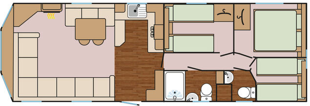 Kestrel Plus (3 Bedroom + Hot Tub)  Floorplan