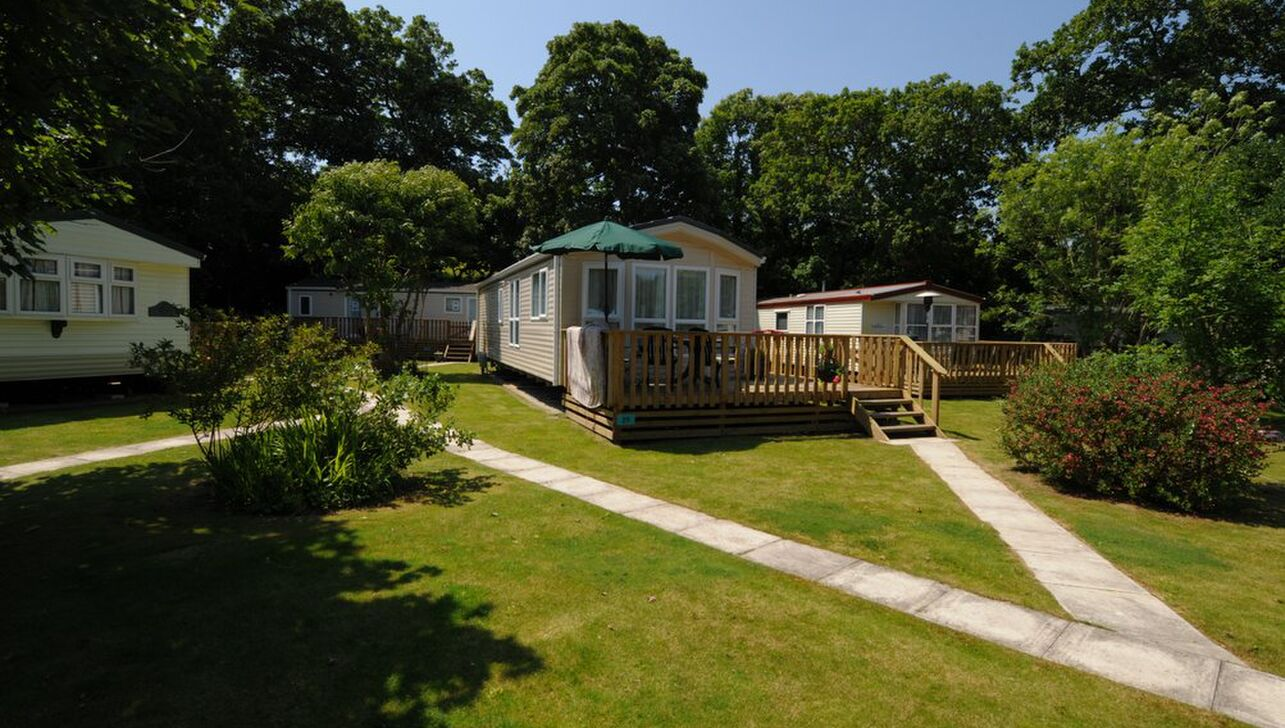 Caravans with verandah at  River Valley Country Park