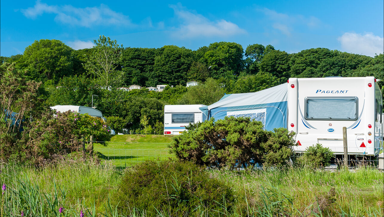 caravans in a Cornish countryside setting