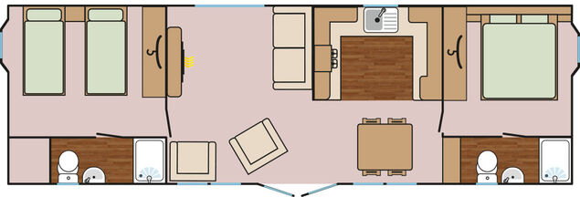 Cedar Lodge Plus (2 Bedroom, 38x12 + Hot Tub) Floorplan